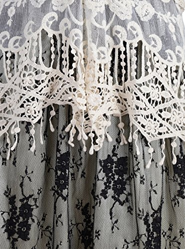 Spitze Anna 1920s Schwartz Kleid Blumen Gastby Kaci Vertuschung gestrickt Häkel Rüsch Vintage Zweiteiler Frauen ärmellos wXwR4qr