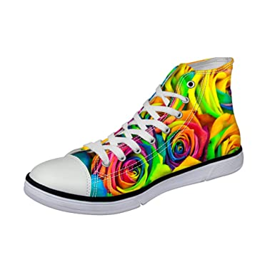 7f21ca6f22 Amazon.com  Floral Printed Women s Girls Casual High Top Canvas Durable Sneaker  Lace up Flat Shoes  Clothing