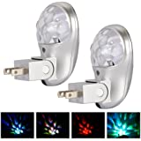Pack of 2 Plug in LED Projector Night Light Emotionlite Night Lamp with Dusk to Dawn Sensor Light, Multi-Colored Rotation