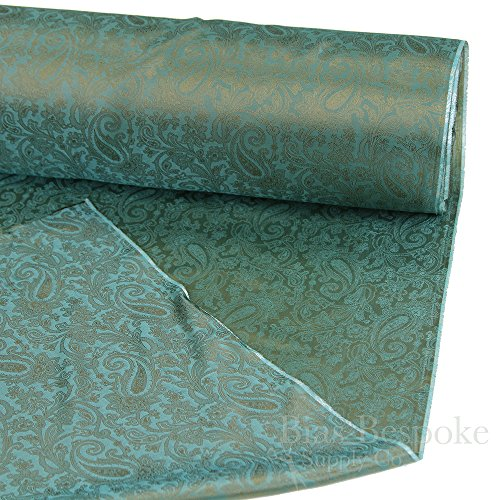 FIORELLO 100% Cupro Bemberg Bronze & Blue Green Jacquard Paisley Lining, By the Yard, Made in Italy