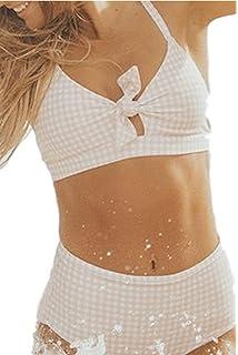 cc09d59944d54 Amazon.com  Bikini Factory Women s Vintage Floral Print Push Up High ...