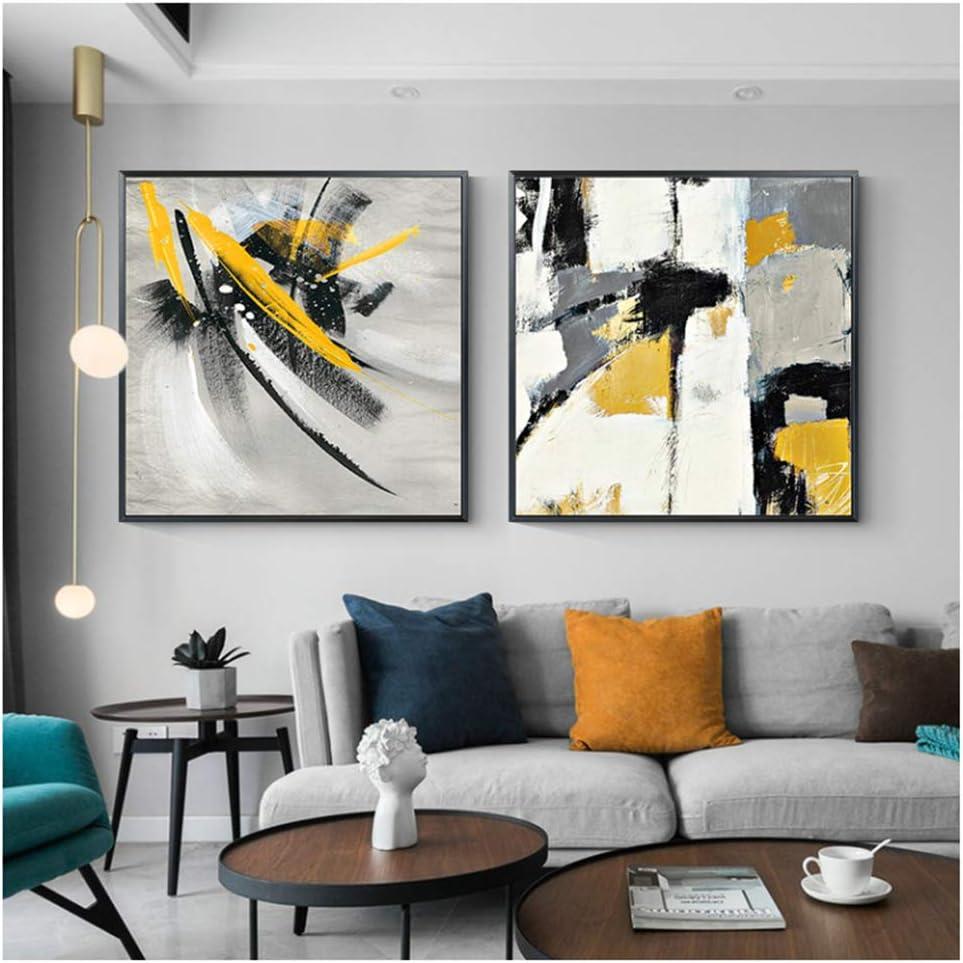nr Pintura Abstracta sobre Lienzo Carteles e Impresiones Amarillos Cuadros para Sala de Estar Dormitorio Moderno Caballo Cartel Grande Decoración del hogar-50x50cm sin Marco