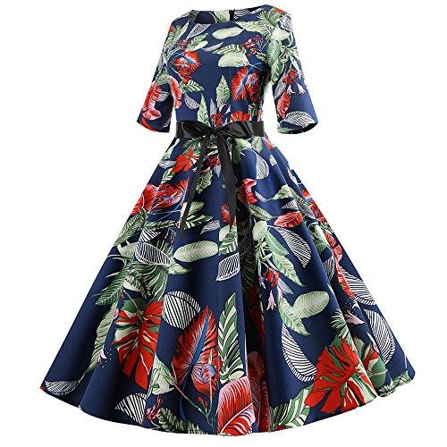 eve Floral Hepburn Vintage Swing High-Waist Pleated Dress ()