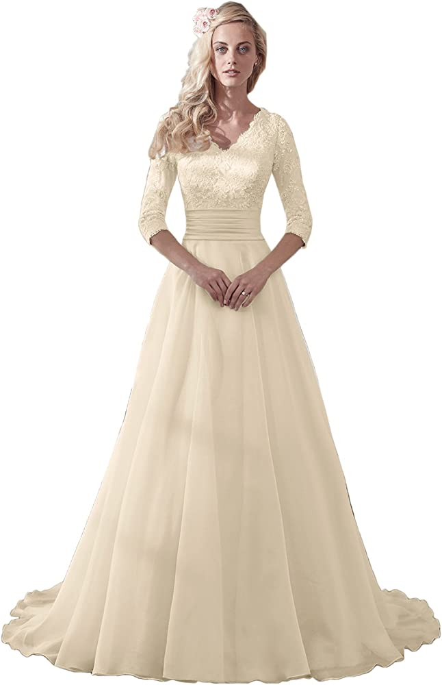 Modest Wedding Dress.Modest Wedding Dress For Bride V Neck Sleeves Organza Floral Lace