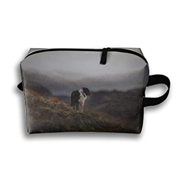 Animal Border Collie Dogs Makeup Pouch Travel Trapezoidal Clutch Bag with Zipper