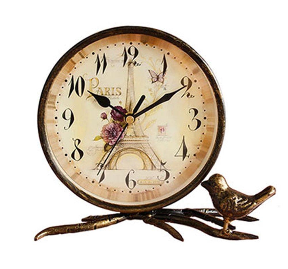cd6d6150724 S.W.H simple de bronce decorativa de mesa de cobre reloj de hierro Torre  Eiffel