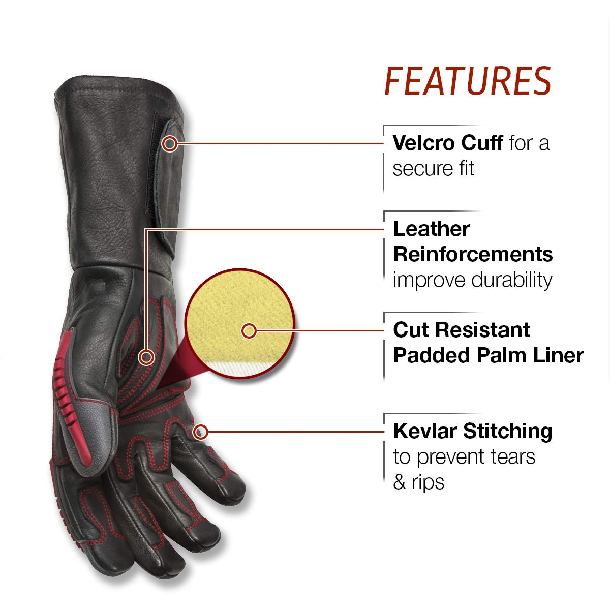Lincoln Electric Roll Cage Welding/Rigging Gloves | Impact Resistant | Black Grain Leather | by Lincoln Electric (Image #3)