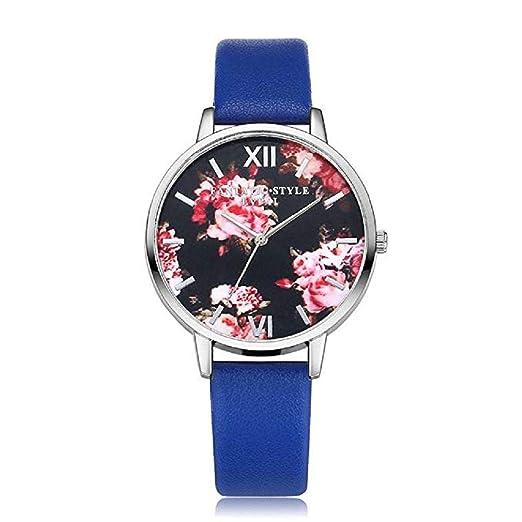 Scpink Relojes de Cuarzo para Mujeres, Patrones de Flores de liquidación, Relojes para Mujer