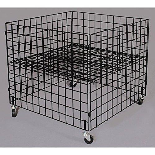 Retail Black Dump bin 36''x36''x30''high grid panels with casters by Dump bin
