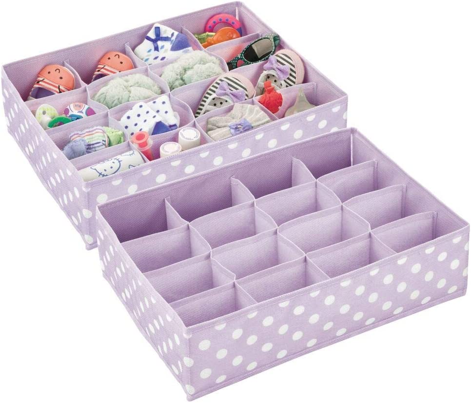mDesign Set of 2 Nursery Drawer Tidy – Polka Dot Drawer Insert with 16 Compartments for Space-Saving Clothing Storage – Nursery Storage Box Made of Synthetic Fabric – Light Purple