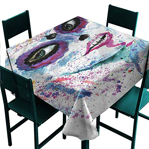 DONEECKL Washable Tablecloth Girls Halloween Lady Make Up
