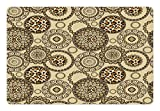 Ambesonne Animal Print Pet Mat for Food and Water, African Safari Pattern with Cheetah Skin Print Animal Theme in Neutral Colors, Rectangle Non-Slip Rubber Mat for Dogs and Cats, Brown Beige
