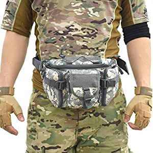 Tactical Waist Pack Army Military Fanny Pack Outdoor Hiking Climbing Hunting Fishing Shopping Travel Waterproof Waist Bag ACU