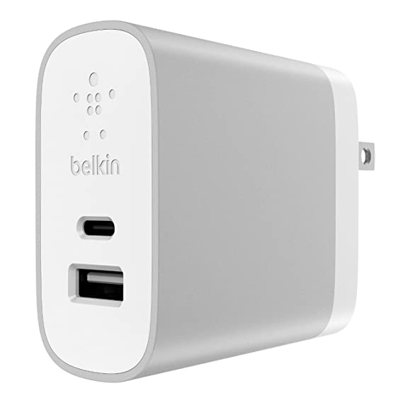size 40 f1de5 62b05 Belkin 27W Combined (12W A + 15W C) Home Charger Dual Port, Compatible with  iPhone Xs, XS Max, XR, X, 8, 8 Plus