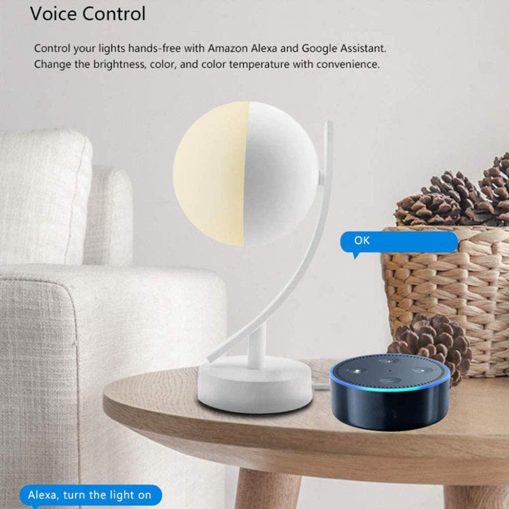 NBZH Lampe de Table Intelligente Compatible avec Alexa Google Home WiFi Intelligent RGBW Veilleuse de Chevet contr/ôl/ée par Voix//Application
