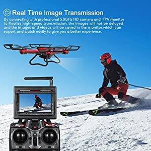 Drone with Camera, Potensic F181DH 5.8GHz RC Drone Quadcopter With 720P HD Live Camera RTF Altitude Hold UFO & est Stepless-speed Function, 5.8Ghz FPV LCD Screen Monitor (Red) from Potensic