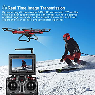 Drone with HD Camera, Potensic F181DH RC Drone Quadcopter RTF Altitude Hold UFO with Stepless-speed Function, 2MP Camera& 5.8Ghz FPV LCD Screen Monitor & Drone Carrying Case (Red) by Potensic