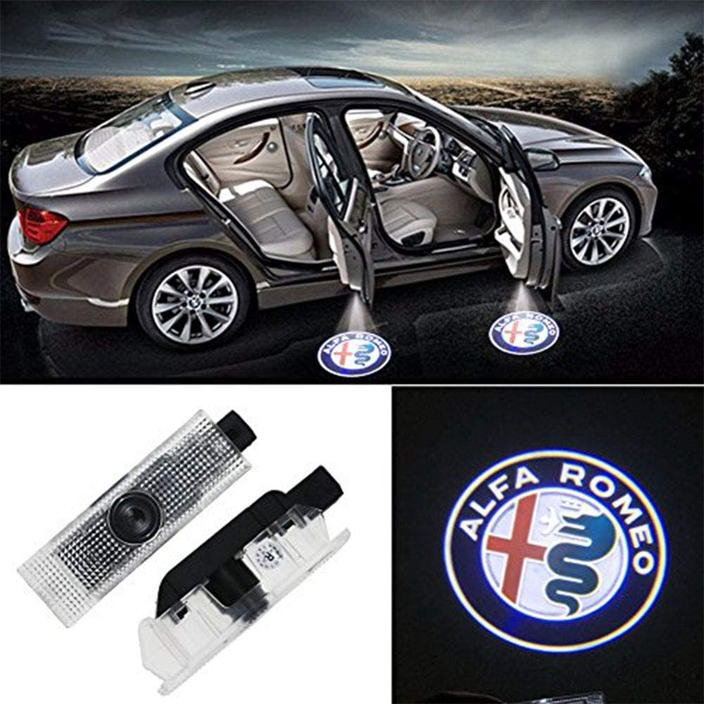 Grolish Car Door LED Logo Lighting Projector Welcome Lights For Alfa Romeo (2-Pack)