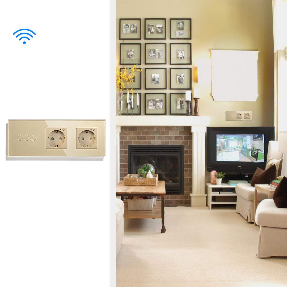 BSEED Interruptor de luz t/áctil Alexa con enchufe WIFI Funciona con Tuya Alexa y Google Home 2 gang 1 way and Z/ócalos dobles de la EU Blanco