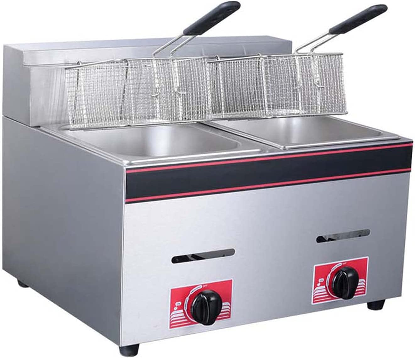 Wgwioo Gas Deep Fryer, Commercial Frying Pan French Fries Machine Fryer, Stainless Steel French Fry Double Tank Fast Fryer with 2 Baskets