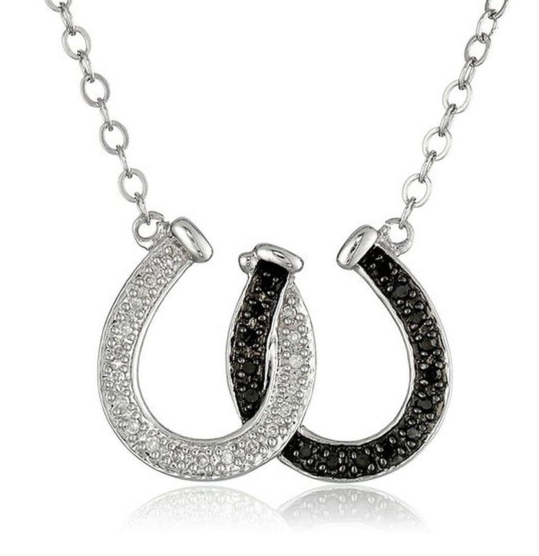 Amazon Elegant Black and White Crystal Lucky Horseshoe