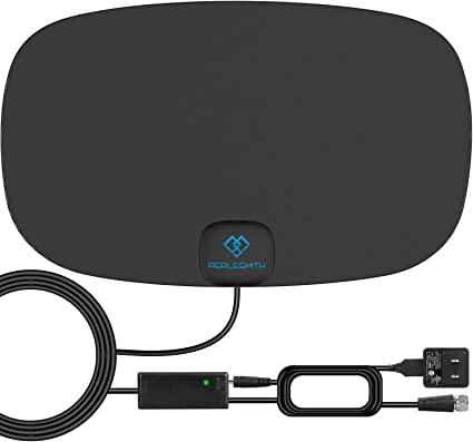 Digital Antenna for HDTV VHF UHF Freeview Channels with Signal Amplifier and 16.5ft Coaxial Cable PERLESMITH TV Antenna Indoor HD Antenna 70-120 Miles Long Range Reception Supports 4K 1080P