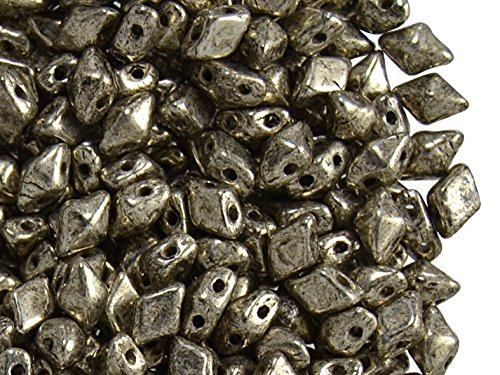 - 30pcs DiamonDuo Mini Bead 4x6mm Two Holes, Czech Glass, Jet Antique Chrome