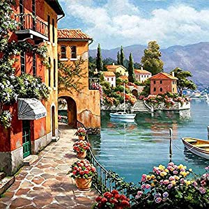 """Paint by Numbers DIY Acrylic Painting Kit for Kids & Adults by iCooster – 16"""" x 20""""Silent Harbor Pattern with 3 Brushes & Bright Colors"""