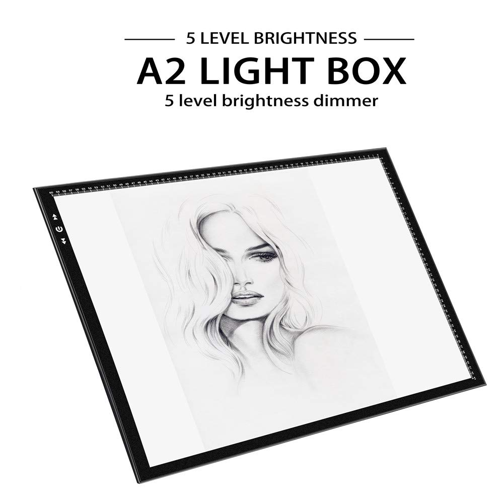 A2 Light Box Light Pad Aluminium Frame Super Thin 5mm/0.2inches Touch Dimmer 20W Super Bright LED 12V 2A Adapter by HSK