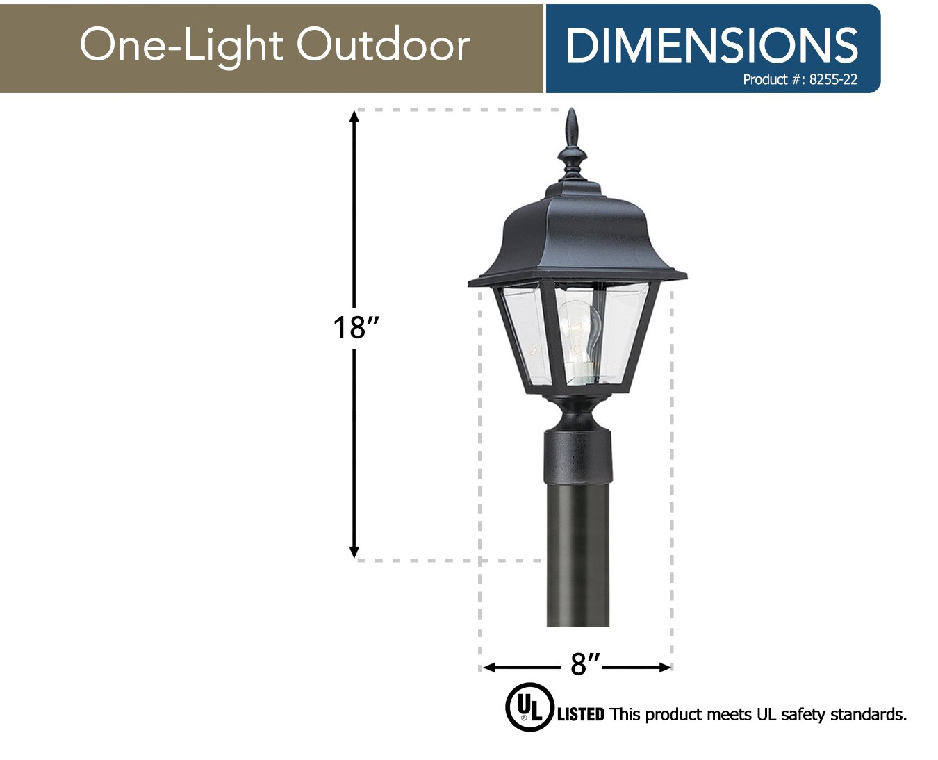 Sea Gull Lighting 8255-12 One-Light Outdoor Post Lantern with Clear Beveled Acrylic Panels, Black Finish by Sea Gull Lighting (Image #2)