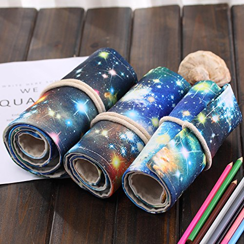 LIFEMATE Canvas Pencil Wrap, 72 Colored Pencil Roll Up Travel Drawing Coloring Pencil Holder --Black Starry Sky (Pencils are not ()