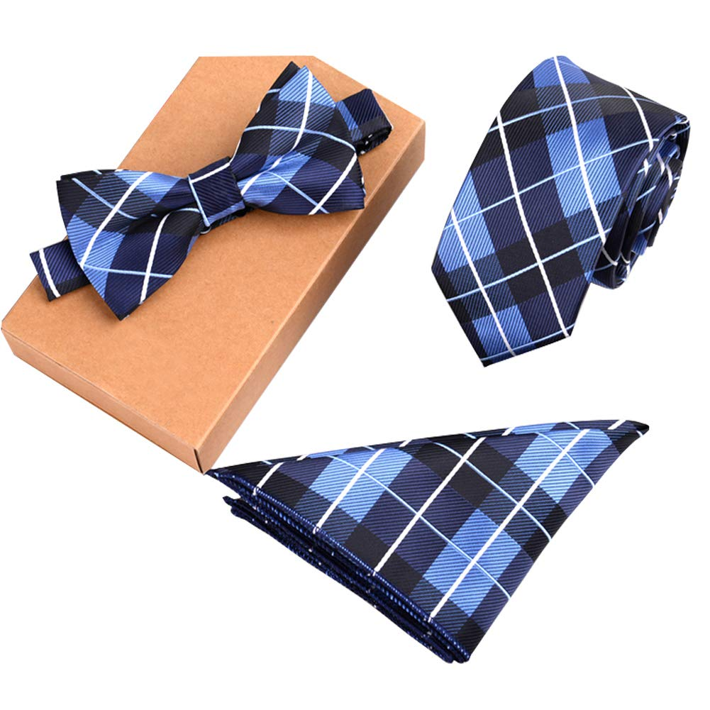 Lanburch Fashionable Premium Formal/Informal Ties Set, Necktie/Bow Tie/Pocket Square for Mens/Boys, Blue Plaid