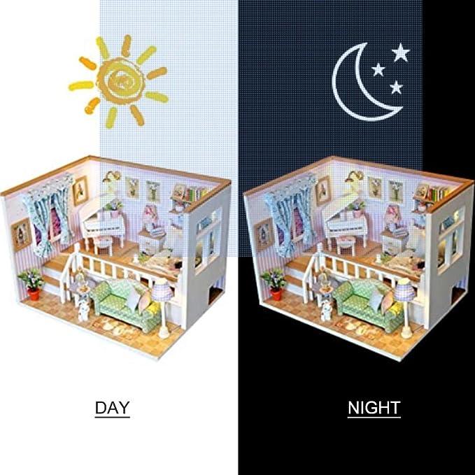 Decdeal DIY Puppenhaus Miniatur mit M/öbel und LED Holz Bastelsets f/ür Frauen und M/ädchen Geburtstagsgeschenke