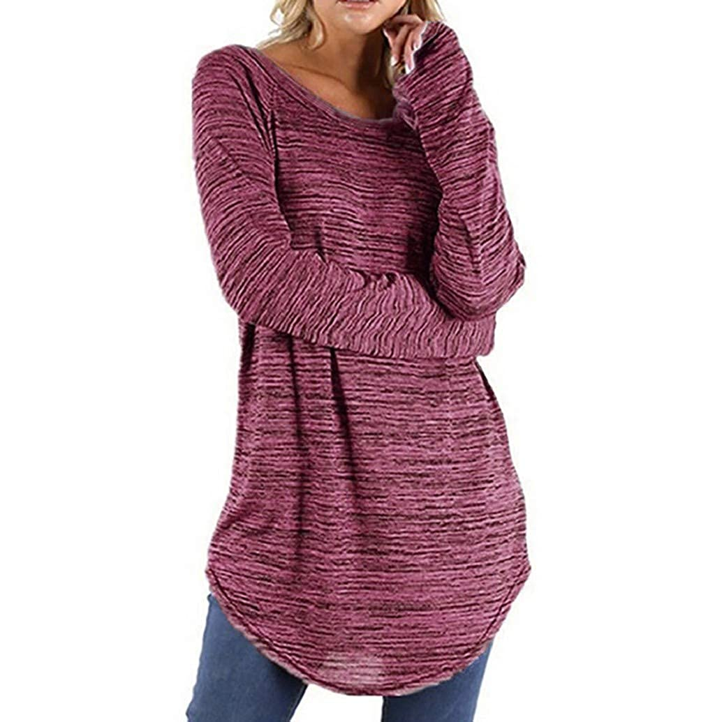 LONUPAZZ Hauts Femme Grande Taille Uni Pull Irrégulière T-Shirt À Rayures Blouse Pullover Tops Sweats à capuche femme nr.1