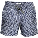Le Club Original Mens Swim Trunk I Fly White-Blues