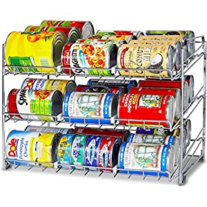 SimpleHouseware Stackable Can Rack Organizer, Chrome 61sA8L8OHpL