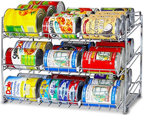 SimpleHouseware Stackable Can Rack Organizer, Chrome (Canned Food Storage Rack)