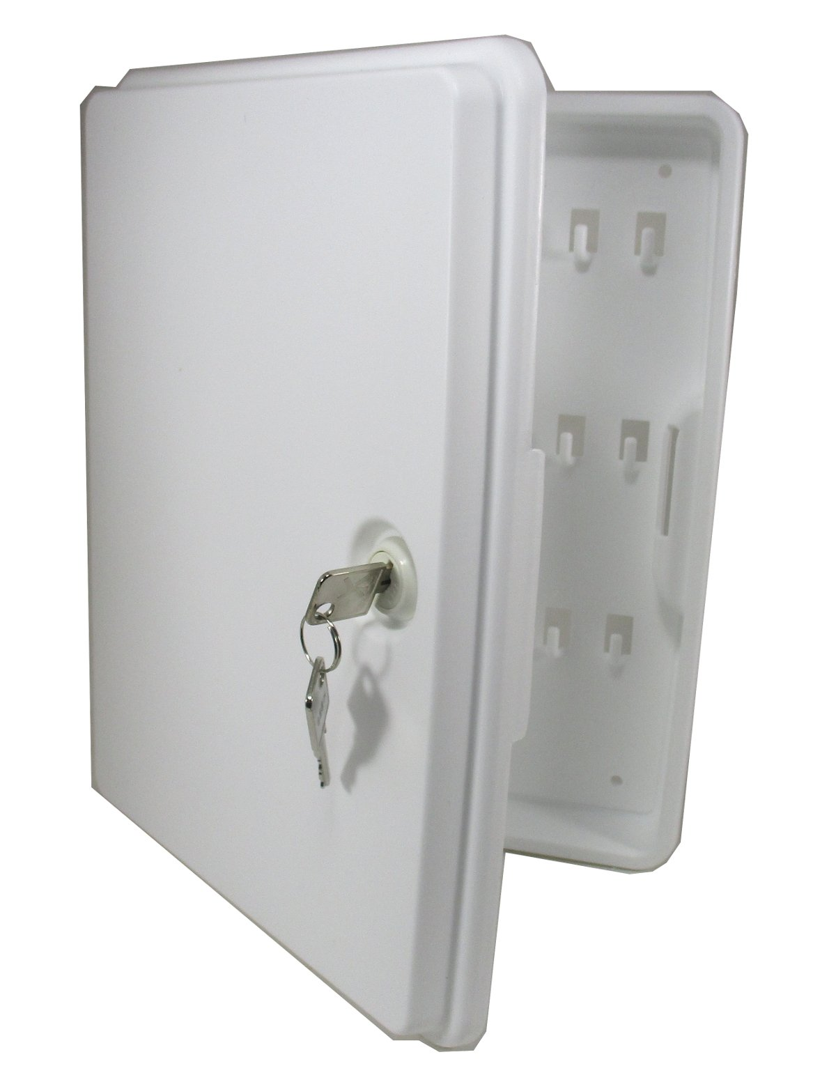 Locking Key Cabinet Holds 24 for Home Office or School White
