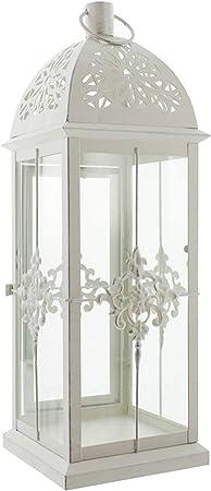 Windlicht mit Glas Kerzenständer Laterne Gartenlaterne Holz Gelb Grün 26 cm