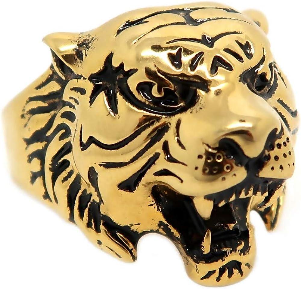 Bague Chevali/ère T/ête de Tigre Dor/ée Noire Vintage Acier 316 Plaqu/é Or Homme BOBIJOO Jewelry