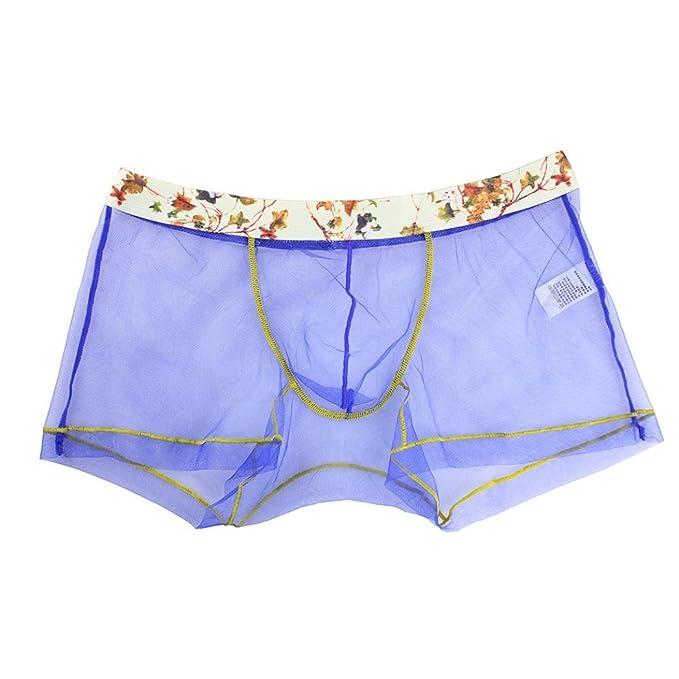 Jaminy Hombres Malla Transparente Ropa Interior Hombres Boxer Briefs Bolsa Suave Unterhose - Calzoncillos boxer pantalones cortos, hombre, azul, ...