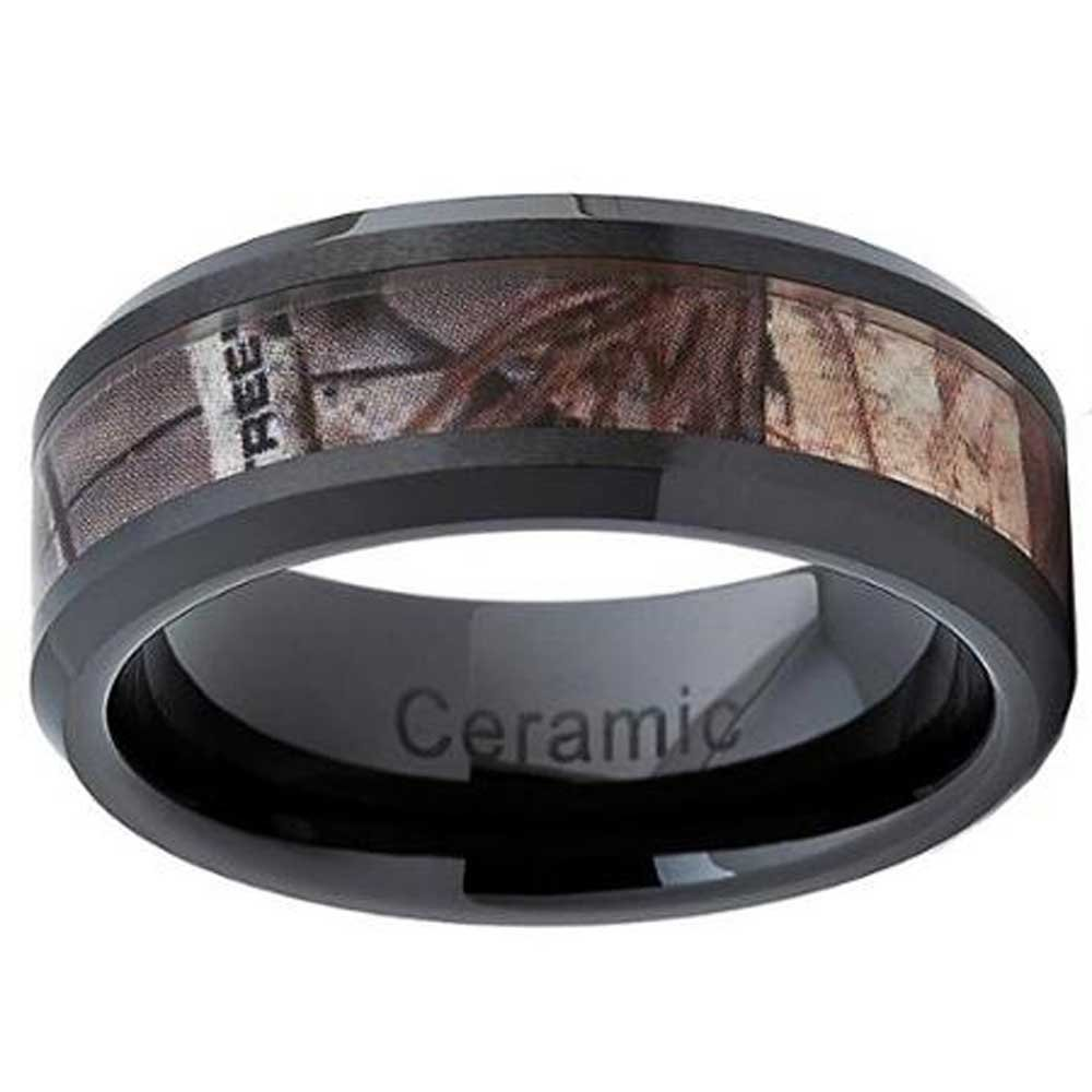Camouflage-Camo Inlay ''RIFLE HUNTING FREEDOM'' Forest Trees Comfort-Fit Wedding Black Ceramic Ring Size 7-15 (11)