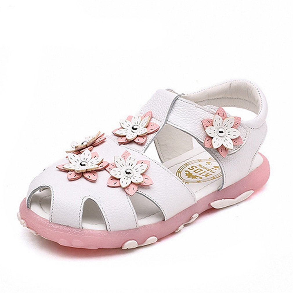 CYBLING Girls Closed Toe Sandals Summer Soft Floral Outdoor Sport Flat Shoes (Toddler/Little Kid)