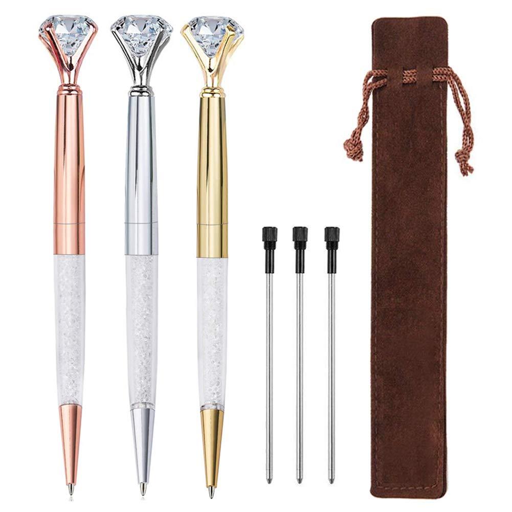 EVNEED 5 Pcs Big Diamond Pen Rhinestones Crystal Metal Ballpoint Pens Black Ink for Women Girsl Gifts