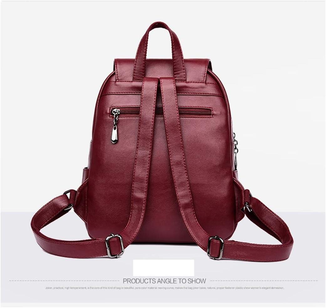 Sleek Minimalist Black//Blue//Gray//Red//Purple PU Leather Haoyushangmao Girls Multifunctional Backpack for Daily Travel//Tourism//School//Work//Fashion//Leisure