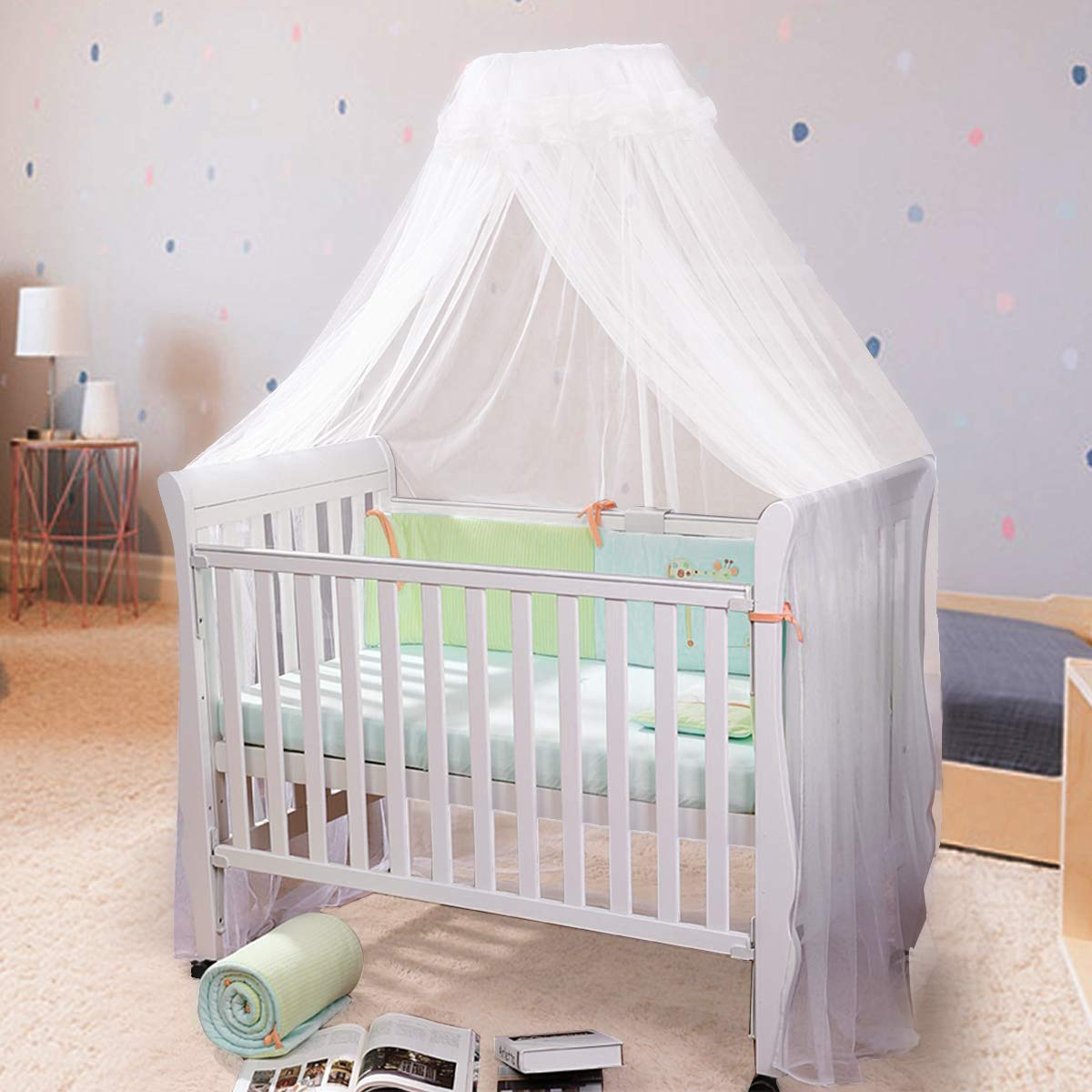 Fdit Universal Dome Baby Infant Mosquito Net Toddler Bed Crib Canopy Netting Bedroom Hanging Bed Net Bedding Yellow Edge Yellow Edge