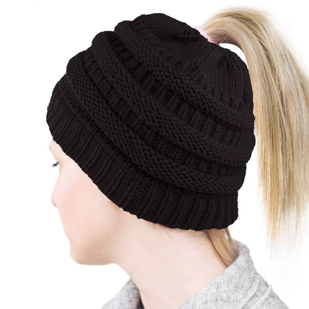 f29c338941bc1 YANXI Hat Winter Hats Women Knit Wool Hats Beanie Ponytail Hole ...