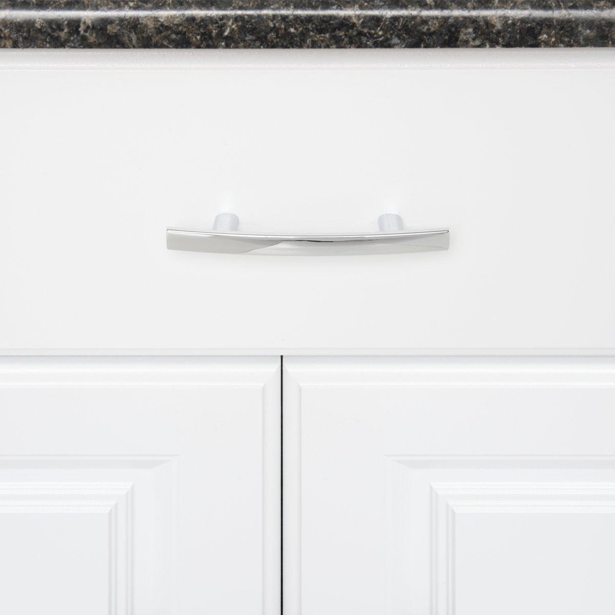 3 Hole Centre Satin Nickel 10-Pack 5.25 Length Basics Modern Curved Cabinet Handle