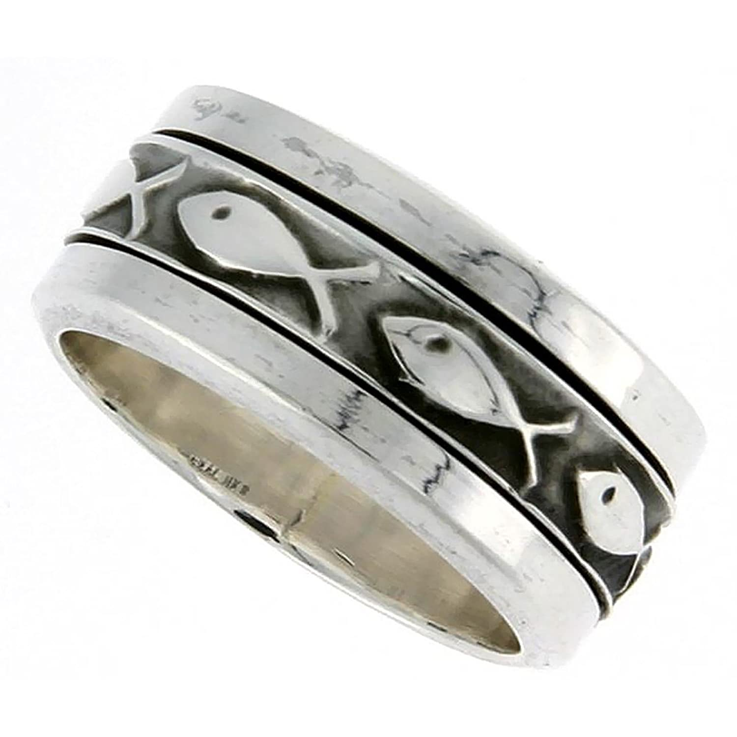 Amazon Sterling Silver Ichthys Spinner Ring Christian Fish