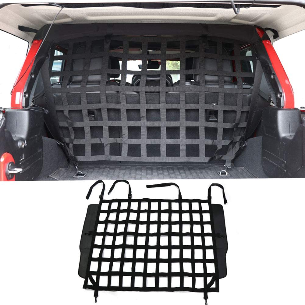 BESTAOO Pet Net Vehicle Safety Mesh Dog Barrier for Jeep Wrangler JK JL 4-Door 2007-2020, Fits Behind Rear Seat, Suitable for Medium, Large Pets, Easy to Install